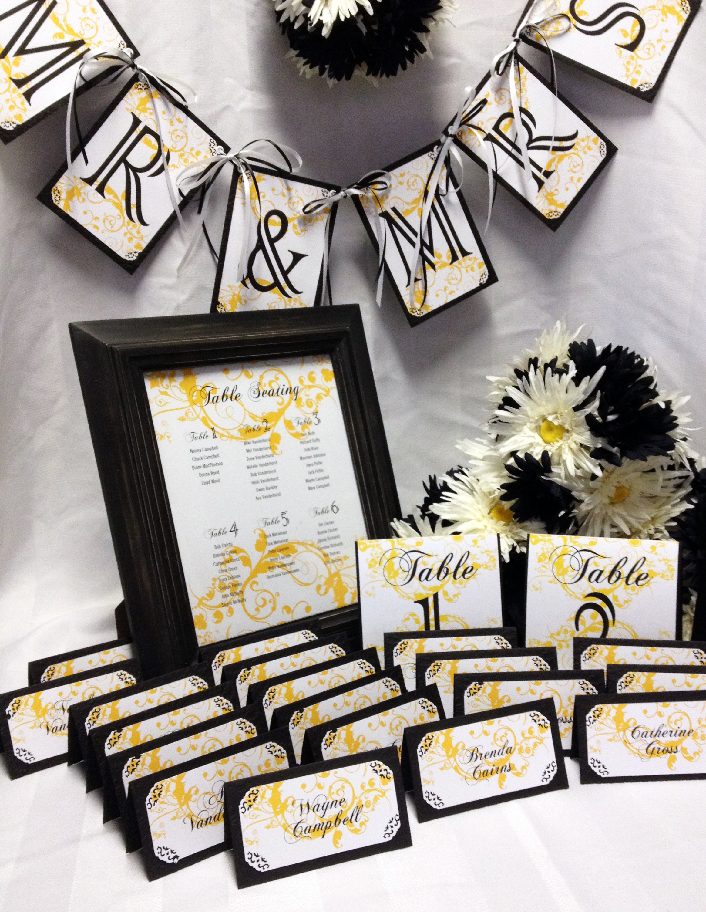 Black Yellow White Wedding